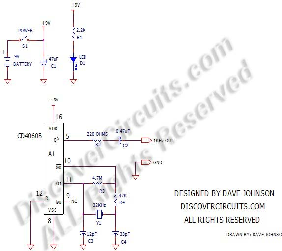 Circuit: #359Crystal Controlled 1KHz Signal Generator
