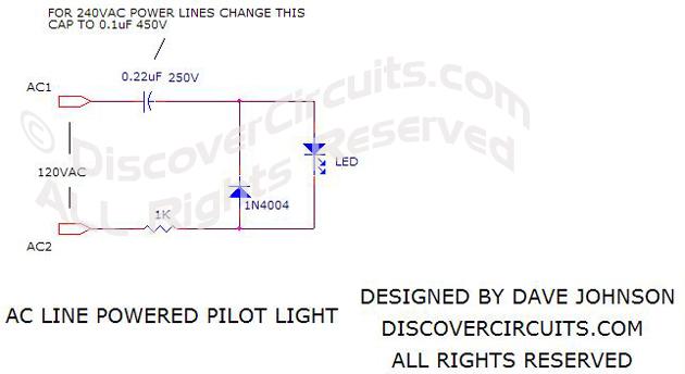 led wiring diagram 120v purpose venn pilot light schematic data oreocircuit ac line powered circuit designed