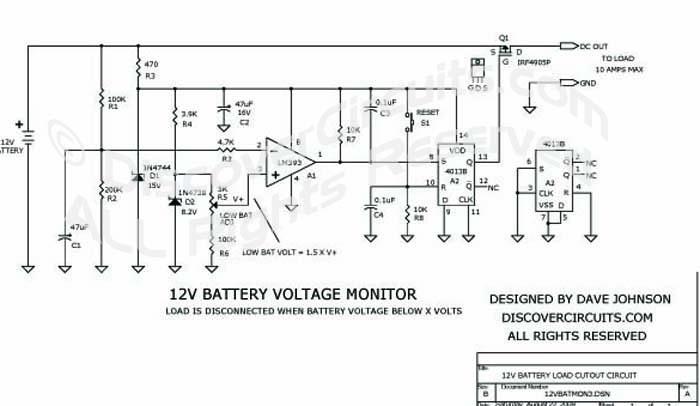 Circuit: 12V Battery Load Cutout circuit