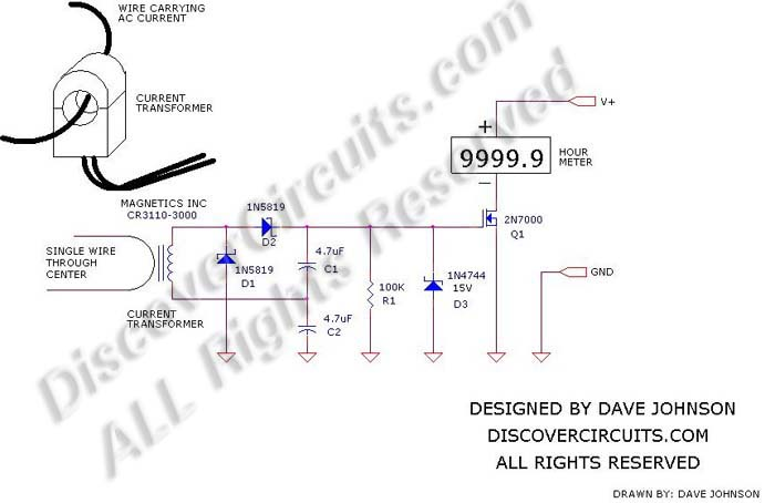 Circuit: #378- CT Hour Meter__ Circuit designed by David A
