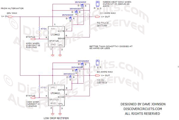 Circuit-Two 12v Battery Isolator uses a LTC4412Hobby Circuit