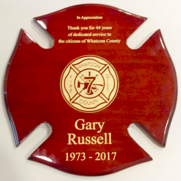 retirement plaque from wcfd7 commissioners to retiring chief gary russell 2017-06-08