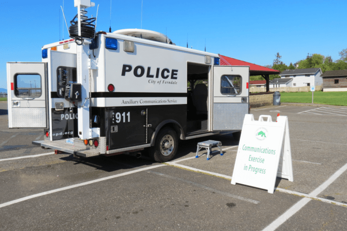 Ferndale Police Department communications van at Pioneer Pavilion Community Center 2018-05-15
