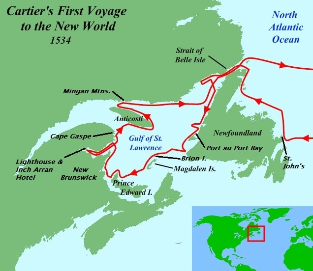 Cartier first voyage map