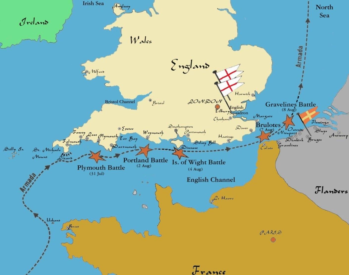 map battle of gravelines