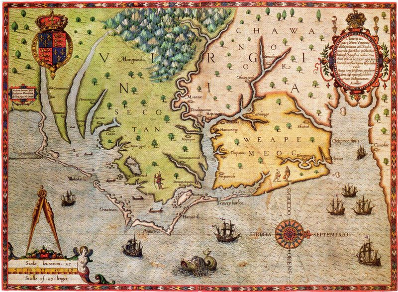 the carte of all the coast of virginia engraved by Theodor de Bry