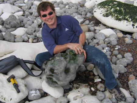 Roy Shepherd with a large flint nodule