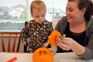 Pumpkin Carving with a Toddler