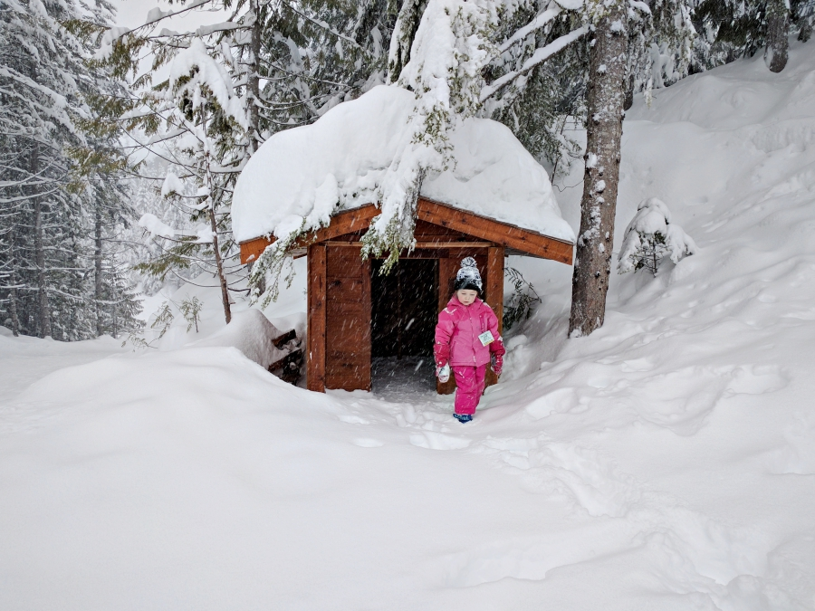Go play outside: playhouse in the snow