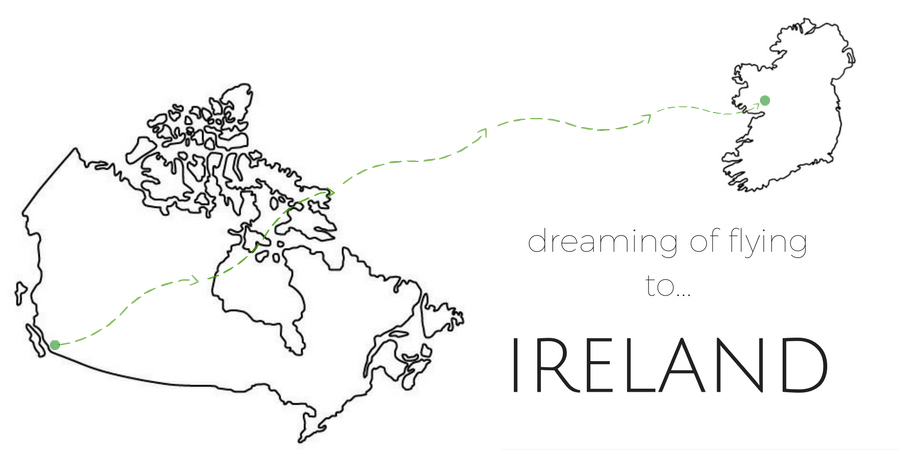 flying to Ireland, outline of Canada and Ireland