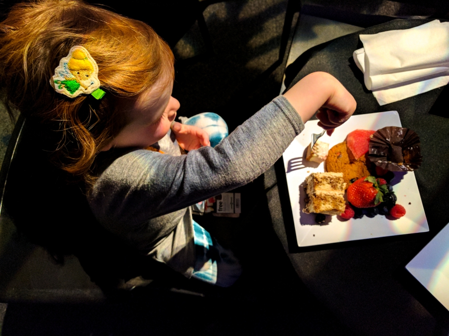 Cavalia Odysseo in Vancouver, preschooler during Gold VIP experience and having dessert