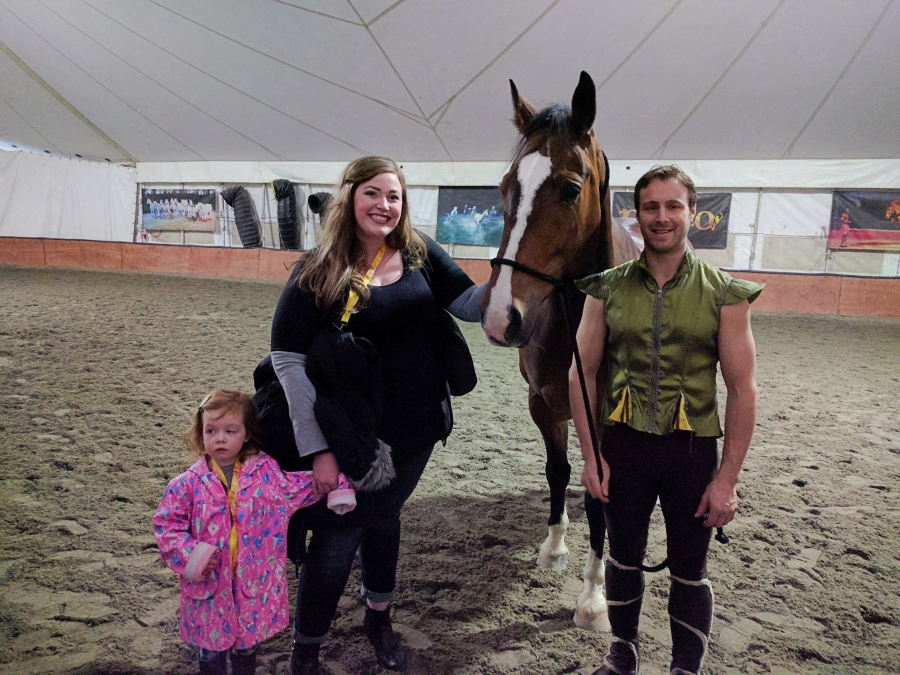 Cavalia Odysseo in Vancouver, preschooler during VIP experience and meeting a horse and rider
