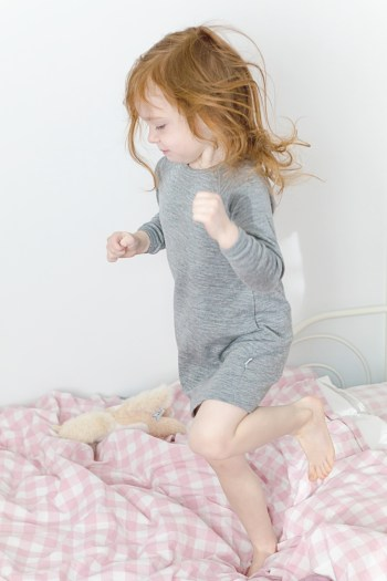 Simply Merino thermal merino wool dress in heather grey