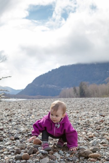 Squamish River Estuary, toddler walking on riverbed