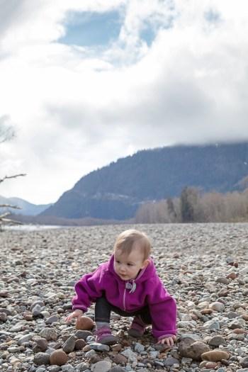 Squamish River Estuary, toddler walking on riverbed