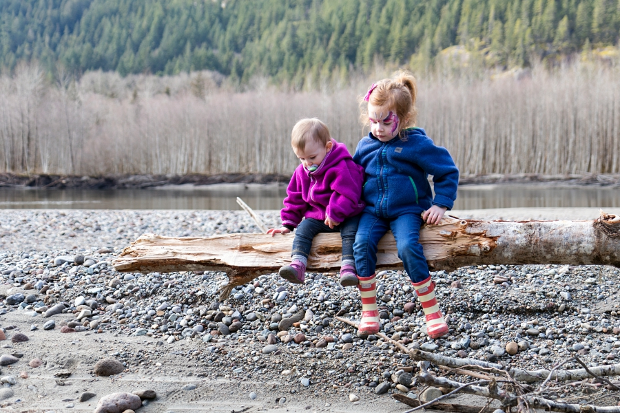 Squamish River Estuary, toddler and preschooler sitting on a fallen tree