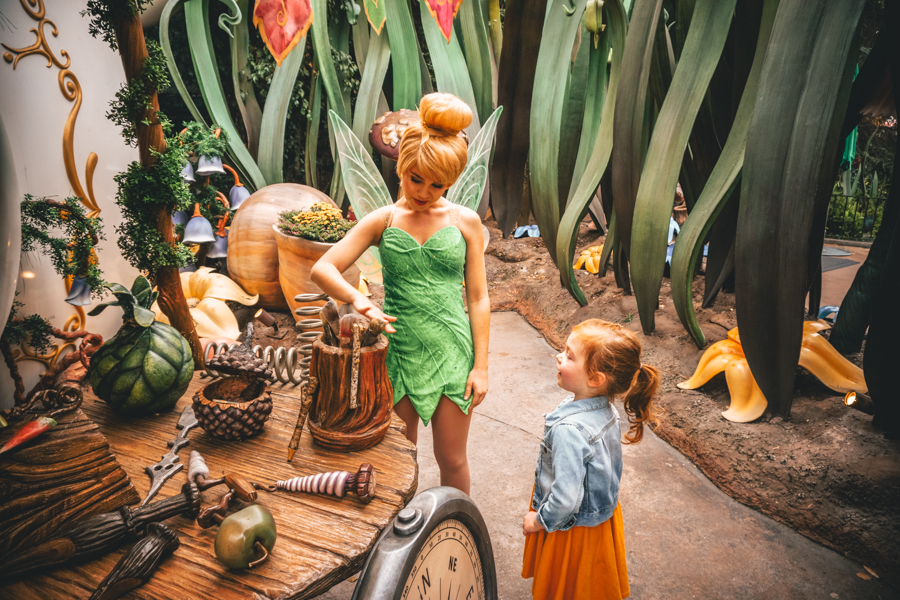go for a one-on-one vacation, travel, family travel, family vacation, Disneyland, meeting Tinker Bell in Pixie Hallow, character meet and greet in Disneyland