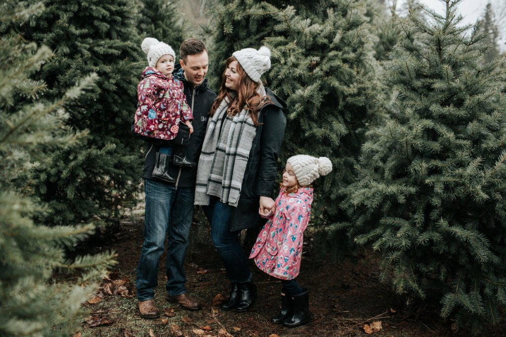 Brave. Family. Marriage. Husband and Wife, cancer, Movember, Christmas tree farm. Family Photos.