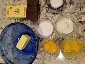 Simple ingredients for a decadent cake