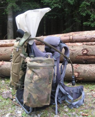 Vaude Baby Carrier With Accessories, Jeseniky mountain hiking trail, Czech Republic.
