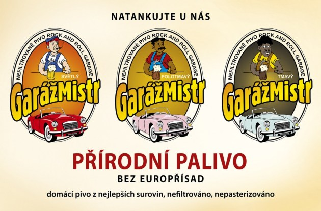 GarazMistr beer advertisement, Garage Beer Festival, Ostrava Martinov, Czech Republic, Europe.