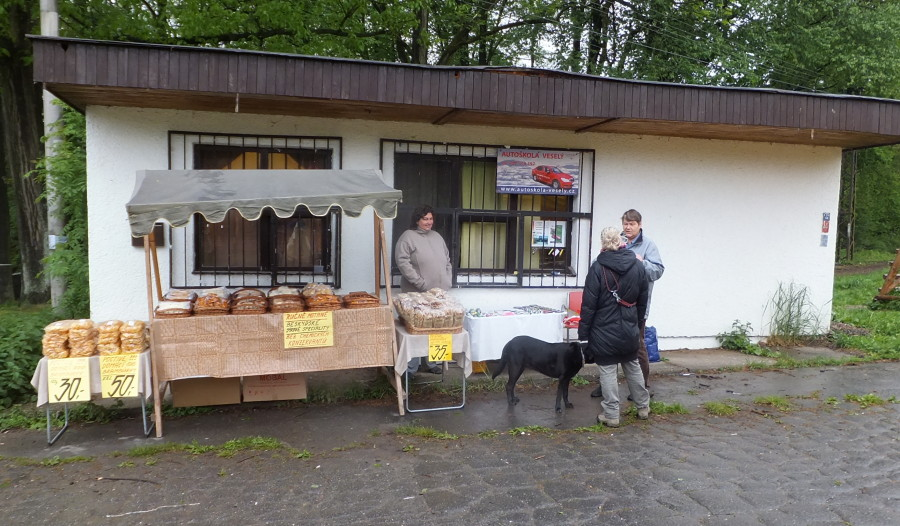Pohadkovy Les - Fairytale Forest. Czech traditions. Home-made Fried Stuff being hawked and peddled in the drizzle.