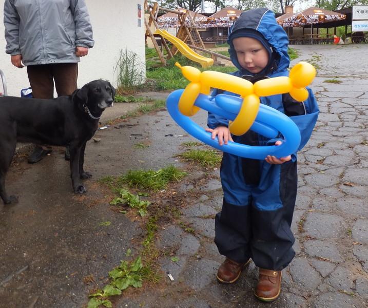 Pohadkovy Les - Fairytale Forest. Czech traditions. Our Kid with his balloon dog. Our Dog still disappointed that it isn't made of sausages.