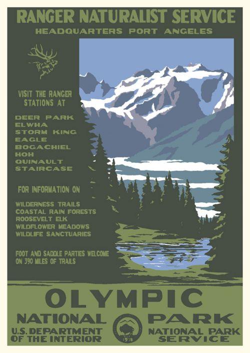 olympic national park vintage poster ranger naturalist service series