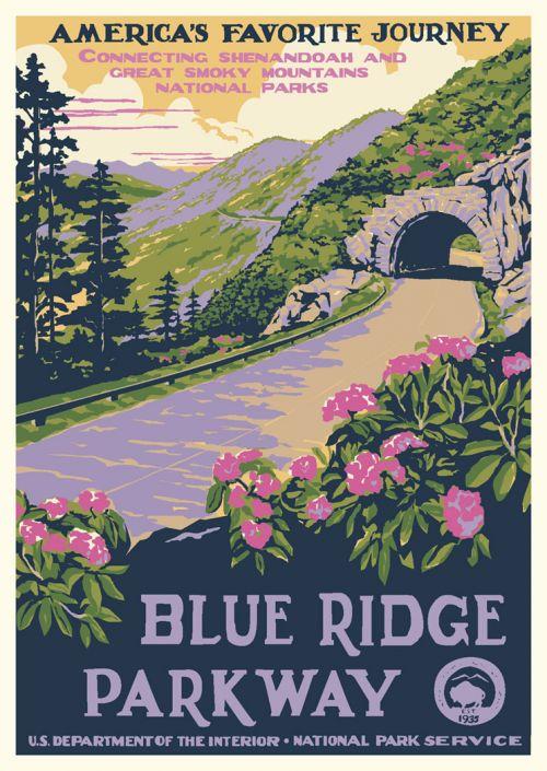 blue ridge parkway national park vintage poster