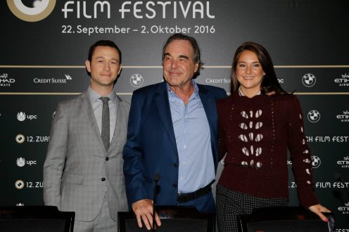 Snowden Director Oliver Stone, actor Joseph Gordon-Levitt, actress Shailene Woodley