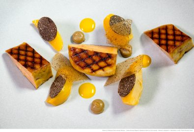 Foie gras grillé, Orange, navets et truffe du Périgord
