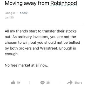A user on the anonymous work app, Blind, shows their frustration with Robinhood.
