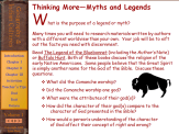Thinking More suggests discussion questions to develop higher-level thinking skills.