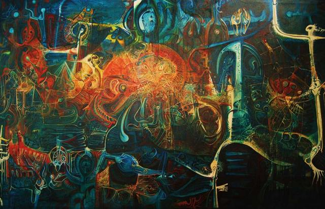 Weavers of the Dust by Trinidad artist LeRoy Clarke