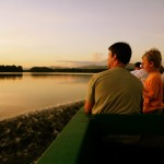 A Caroni Swamp boat tour at dusk. Photographer: Stephen Broadbridge