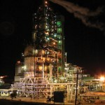 The Petrotrin Cat Cracker at night. Photographer: Courtesy T&T Business Guide