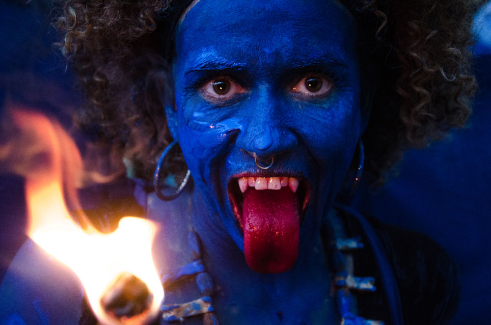 A blue devil at the Canboulay Riots Re-enactment. Photo by Warren Le Platte