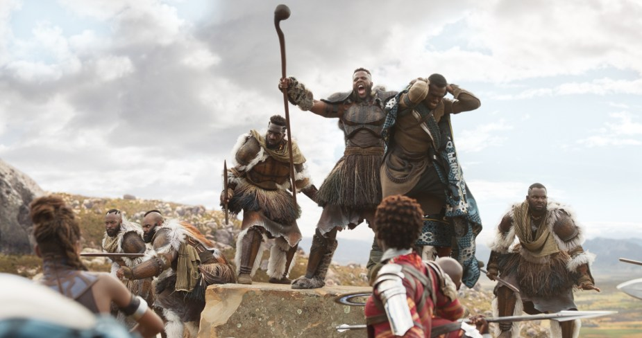 "Winston Duke in a scene as M'Baku in Marvel's ""Black Panther"". Courtesy Walt Disney Studios Motion Pictures"