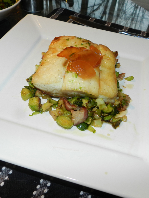 halibut with pear gastrique