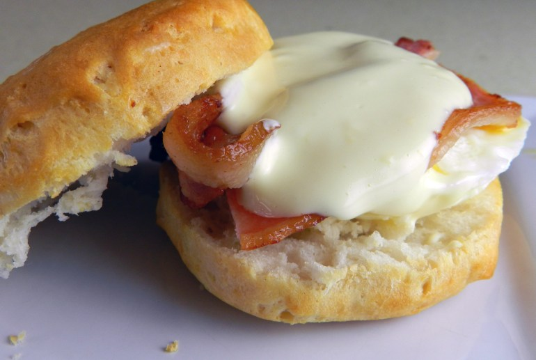 Biscuits and Bacon Eggs Benedict