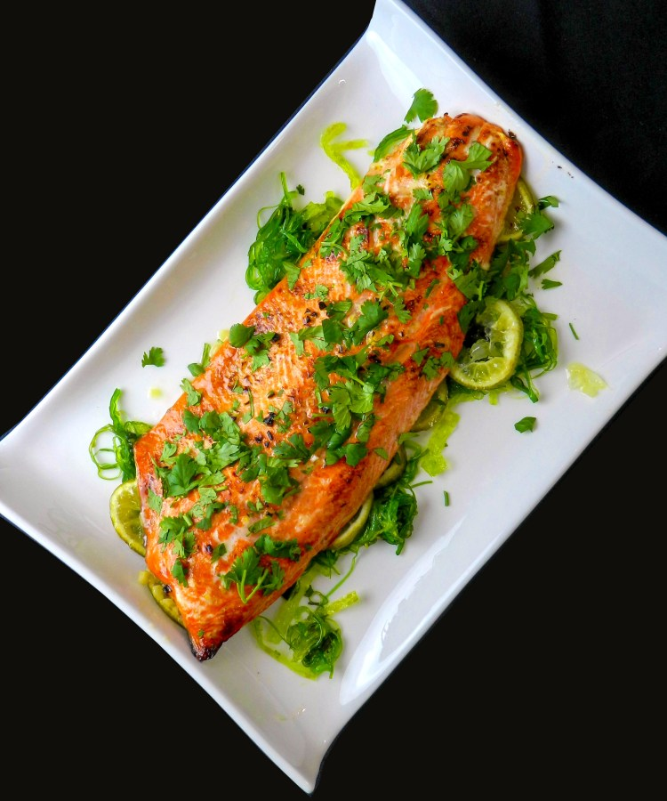 Salmon with Honey, Lime and Cilantro