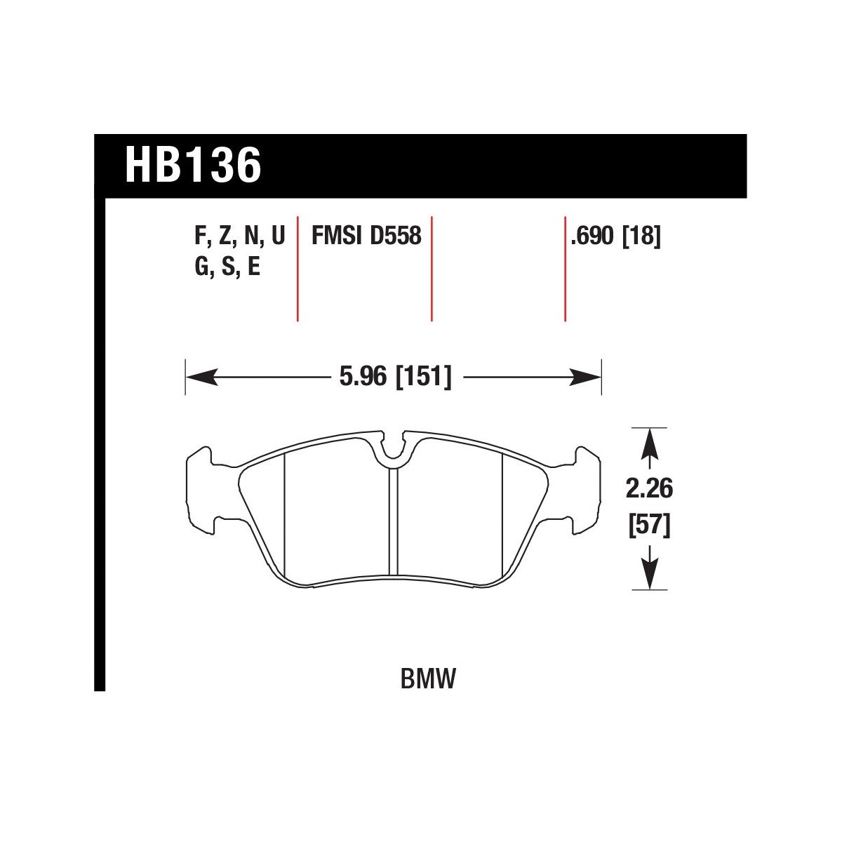 Hawk Hb136n 690 Bmw E36 Hp Plus Front Brake Pad Set