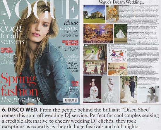 Vogue Magazines Dream Wedding DJs Disco Wed
