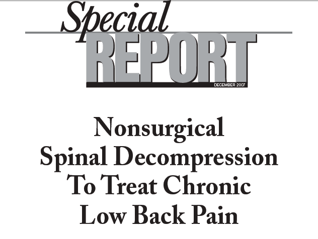 Research on the DRX9000 spinal decompression for the