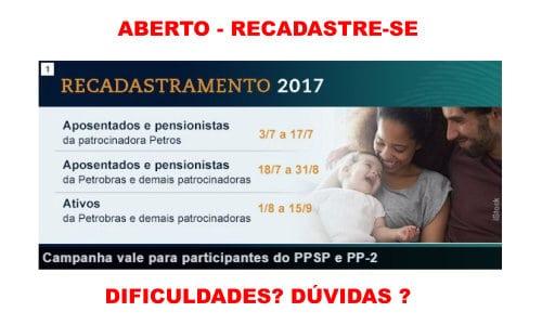 Recadastramento 2017: campanha vale para participantes do PPSP e PP-2