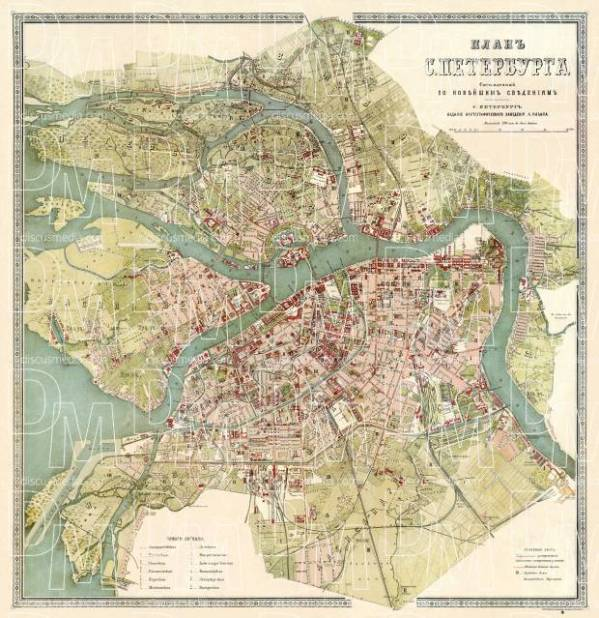 Old map of Saint Petersburg in 1895 Buy vintage map