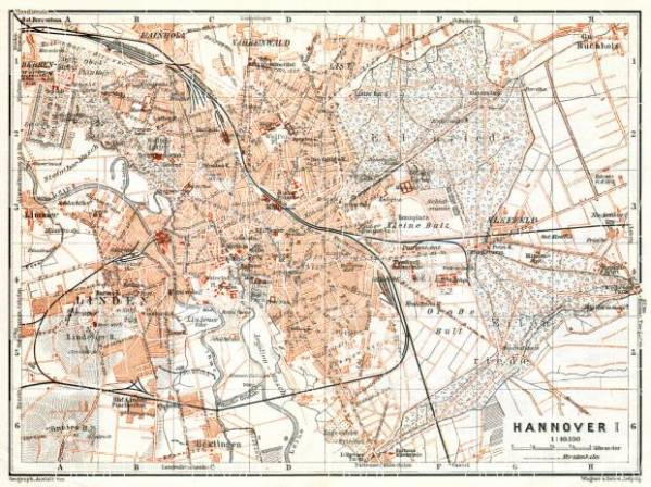 Old map of Hannover in 1906 Buy vintage map replica