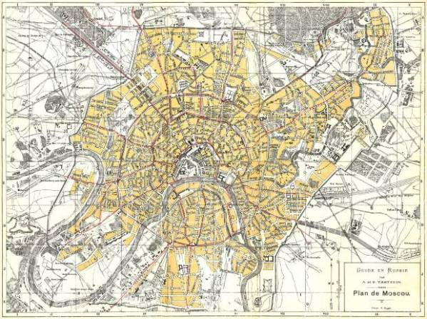 Old map of Moscow in 1897 Buy vintage map replica poster