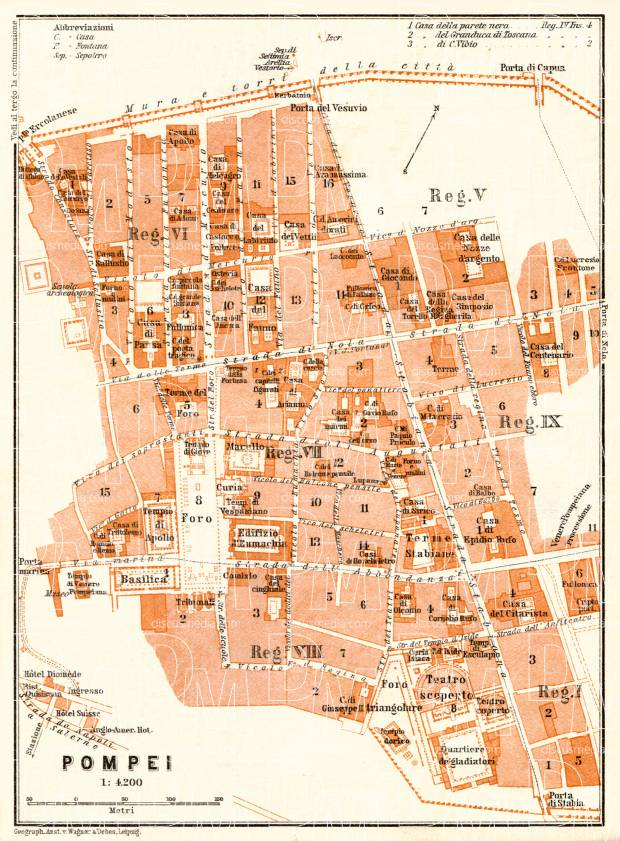 Old map of Pompei (Pompeii) museum site in 1929. Buy vintage map replica  poster print or download picture