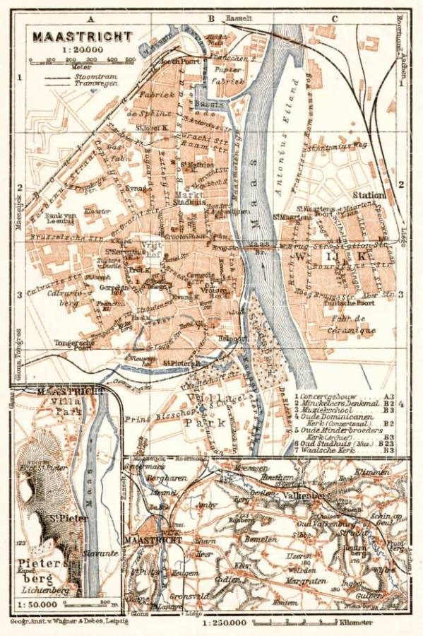 Old map of Maastricht in 1909 Buy vintage map replica